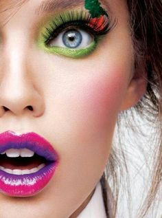 Pops of green and purple. #Lips #Beauty #Lipstick #Makeup