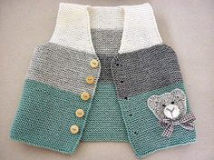 Hand knit baby vest /cardigan / with Teddy.Unisex baby