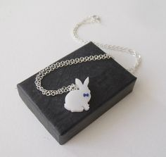 sweet necklace  white rabbit wearing a bowtie by matinlapin, $14.00
