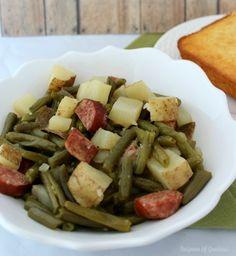 Slow Cooker Recipe ~ Green Beans, Sausage & Potato Dinner - Teaspoon Of Goodness