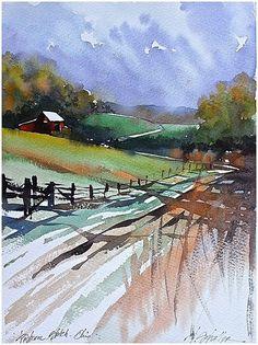 Pastoral Scene - Ohio Thomas W Schaller - Watercolor. 18x13 inches 2015