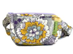 Little Purse with Adjustable Strap and Zipper Bags,Purses, Hand Bags, shoulder bag - Yellow/Grey/Purple Flowers by HandmadebyNancie on Etsy