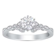 $845 Round Diamond Floral Vintage Engagement Ring 0.20 tcw. In 14K White Gold