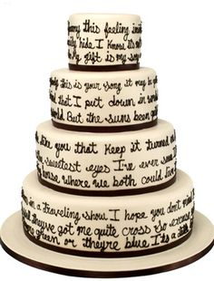 Carlo's Bakery - Modern Wedding Cake Designs this would be sweet. Have our song lyrics on the cake. Cake Boss Wedding, Wedding Cake Designs, Wedding Cakes, Wedding Ideas, Wedding Stuff, Drinks Wedding, Wedding Shit, Wedding Vows, Blue Wedding
