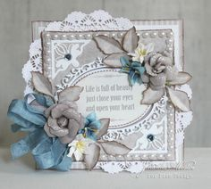 Card with ribbon bow, flowers, oval frame