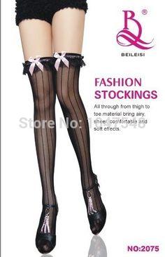 6a6b5ec6aadab Fashion sexy women fancy stocking bowknot stockings silk stocking stripe  lace stockings high quality stockings //Price: $US $5.34 & Up To 18%  Cashback // # ...