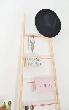 burkatron: DIY   copper and wood ladder shelf