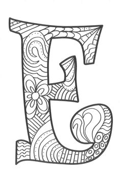 The super original mandaletras learn the alphabet - Educational Images Easy Coloring Pages, Coloring Pages To Print, Coloring Books, Stencil Lettering, Easy Art For Kids, Arts And Crafts Storage, Fancy Letters, Letter Stencils, Hippie Art