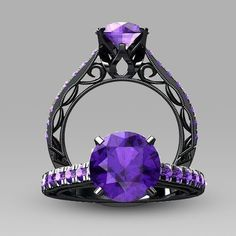 Round Cut Purple Cubic Zirconia 925 Sterling Silver Black Antique Wedding Ring Engagement Ring for Women
