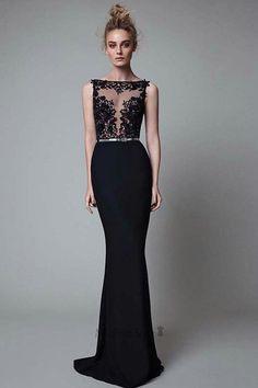 Sexy Mermaid V-back Black Illusion Lace Evening Dress
