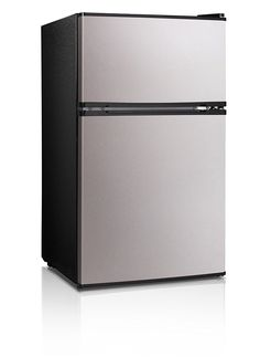 Midea Double Door Mini Fridge with Freezer for Bedroom Office or Dorm with Adjustable Remove Glass Shelves Compact Refrigerator cu ft, Stainless Steel Compact Refrigerator Freezer, Tiny Fridge, Clean Fridge, Tiny House Appliances, Small Appliances, Kitchen Appliances, Fridge Decor, Fridge Shelves, Small Fridges