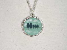 Grey in Jewelry Necklace Hand Painted Birds by arthandmadejewelry, $25.00