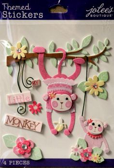 EK Success Jolee's Boutique Baby Girl My Little Monkey Dimensional Themed Scrapbook Stickers are available at Scrapbookfare.com.