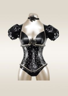 Latex Underbust PolkaDot Corset  made to order by OohLaLatex
