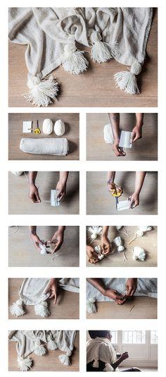 DIY DU PLAID A POMPONS http://lespetiteschosesordinaires.fr/diy-le-plaid-a-pompons/