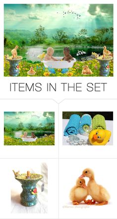 Bath Time at the Duck Pond by kateduvall on Polyvore featuring art
