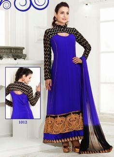 Amisha Patel Royal Blue Georgette Anarkali Suit http://www.angelnx.com/Salwar-Kameez/