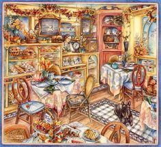 Tea Room- Love this series of warmer watercolors by Kim Jacobs.