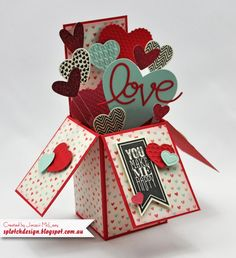 Splotch Design - Jacquii McLeay Independent Stampin' Up! Demonstrator: Card box full of hearts. Pop Up Box Cards, 3d Cards, Love Cards, Stampin Up Cards, Fancy Fold Cards, Folded Cards, Exploding Box Card, Karten Diy, Valentine Day Cards