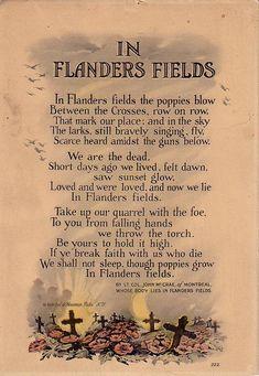 In Flanders Fields the poppy grew. Wear your poppies proud.  I will.