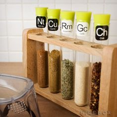 Scientific Spice Rack.  Spice up your savoury science experiments and add some stylish elements to your kitchen with these culinary chemistry accoutrements.  Featuring five glass test-tubes, with silicone stoppers (for added freshness) in a traditional laboratory rack, choose from a periodic table of 36 easy-peel, re-usable herb and spice labels to ensure your flavour formulas are accurate.
