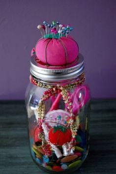Ball Jar  Sewing Decoration  Upcycled Mason by prairiemoonoutpost, $25.00