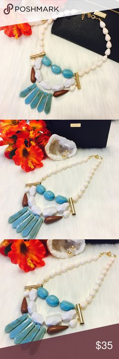 """Boho Semi Precious Stones Necklace & 14k Studs Brand New Boutique Item In Packaging And Mesh Bag. Perfect For Any Outfit Boho Style!! Measuring Approx 17"""" Flat With An Additional 3"""" Extension. Polished White Quartz, Turquoise And Jasper W/ Accented Goldtones. Handmade. Included 14k Gold Plated Ball Studs Earrings - Free With The Purchase Of Necklace!! Boutique Jewelry Necklaces"""
