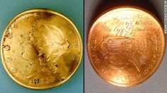 Lt. George Dixon, according to legend, received this coin as a good-luck charm from his beloved, said to be from Mobile, Alabama. It was bent by a bullet when he was wounded at the Battle of Shiloh, two years before the Hunley made history. He had it engraved and carried it the rest of his life. It was found with his remains by Hunley Project scientists