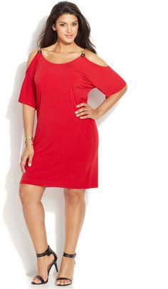 Plus Size Cold-Shoulder Dress