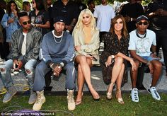 Fashionably late: Kim, Kendall and Kylie Jenner, turned out to support him for…