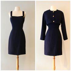 Vintage 1990s Chanel Dress and Jacket Set ~ Vintage 90s Chanel Knit Dress With Matching Bolero Jacket by xtabayvintage on Etsy