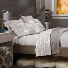 Gray Flannel Sheets Snowflake Winter Soft Warm Bedding Holiday Queen
