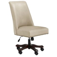 """A spin-off of our popular Corinne Dining Chair, this handsome high-backed swivel chair adjusts 4"""" up or down, turns 360 degrees and has non-scratch casters to protect hardwood floors. Warning: Can cause exclamations of """"Whee!"""" to come from your office."""