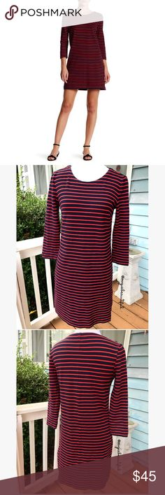 J.Crew Factory Striped Maritime Dress Super cute navy & red J.Crew striped maritime dress - size XXS - excellent preloved condition, no stains - cotton with a hint of stretch - falls above knee - measures: 31.25 inches in length x 16.5 inches armpit to armpit. - 📎Measurements are approximate & are always taken laying flat 📷 Colors may vary slightly from photos  💰Bundle for the best deal  ❌No trades, sorry. J. Crew Factory Dresses