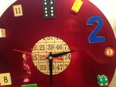 Red clock repurposed into clock featuring game by WelleDesigned, $26.00