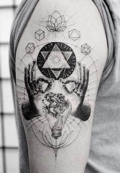 Geometric Tattoo Skull, Geometric Tattoo Nature, Geometric Tattoo Meaning, Geometric Tattoo Design, Abstract Tattoos, Geometric Sleeve, Hand Tattoos, Sleeve Tattoos, Inner Forearm Tattoo