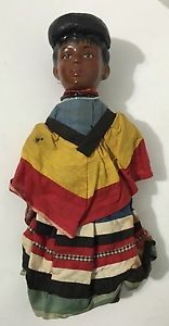 Rare Antique Unmarked Bisque Black Afro-American Americana Folk Primitive Doll