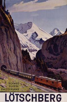 Lötschberg Switzerland Train Vintage Poster Art Print