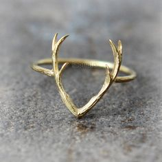 Deer Antler Ring / choose your color, gold and silver