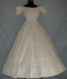 An Original Civil War Era sheer summer gown -- most likely worn by young ladies... You can almost see a young Scarlett O'Hara in it.