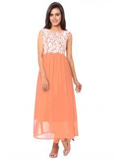 Buy Peach Georgette Long Embroidery Neck Semi-Stitched Kurti