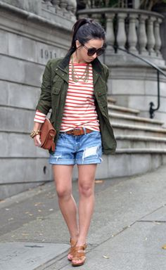 30 Ways to Wear a Utility Jacket // red nautical stripes / denim shorts / cognac shoes + accessories