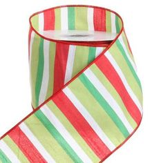 """RAZ Striped Ribbon  Red/White/Lime/Green Made of Polyester Measures 4"""" X 10 Yds  RAZ """"Cookie Confections* Collection"""