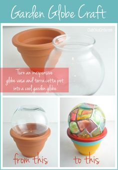 Un globe décoratif de jardin réalisé avec un pot en terre cuite, un vase et de la peinture 3D DIAM'S !