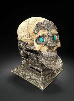 19th Century Royal Tibetan Silver Mounted Skull with Turquois eyes
