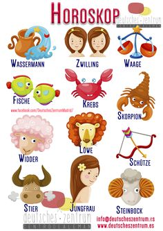 Cute illustration showing the signs of the zodiac in German~Signos astrológicos del zodiaco en alemán Study German, Learn German, German Grammar, German Words, World Languages, Foreign Languages, Learning Maps, Bill Planner, Deutsch Language