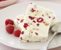 Raspberry Nougat Frozen Parfait, Raspberry Recipe, brought to you by Australian Women's Weekly Frozen Desserts, Just Desserts, Delicious Desserts, Dessert Recipes, Frozen Treats, Dessert Ideas, Cake Recipes, Parfait Desserts, Parfait Recipes