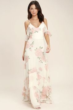 Lulus Exclusive! The Take You There Ivory Floral Print Maxi Dress will transport you to lush meadows! Lightweight ivory chiffon with an allover peach and green rose print, falls from adjustable spaghetti straps with short, ruffled off-the-shoulder sleeves, into a princess seamed bodice. Fitted waist and cascading maxi skirt with ruffled hem. Hidden back zipper.