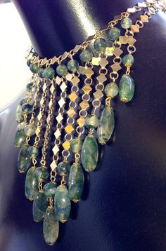 Stunning Art Deco Egyptian Revival Moss Agate by GypsyRoadStudio, $134.00