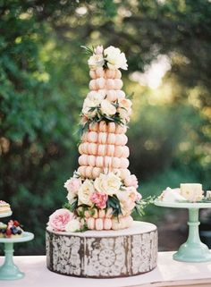French macaron tower with fresh flowers at Saddlerock Ranch Malibu Frost It Cupcakery Photo by Valerie Tabor Smith